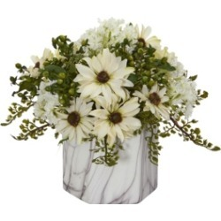 Nearly Natural Daisy Artificial Arrangement in Marble Finished Vase