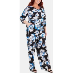 Ny Collection Plus Size Floral-Printed Belted Jumpsuit found on Bargain Bro from Macy's Australia for USD $41.88