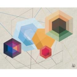 "Creative Gallery Retro Amber Hexagonal Light Abstract 36"" x 24"" Canvas Wall Art Print"