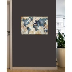 "iCanvas ""World Map Indigo"" by Xander Blue Gallery-Wrapped Canvas Print (26 x 40 x 0.75)"