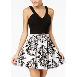 Crystal Doll Juniors' Flocked Fit & Flare Dress found on MODAPINS from Macy's for USD $69.00