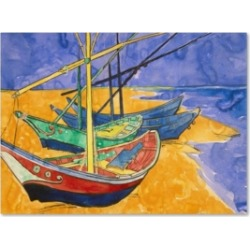"Vincent Van Gogh 'Fishing Boats on the Beach' Canvas Art - 47"" x 35"""