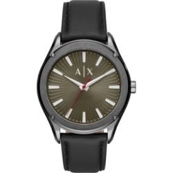AX Armani Exchange Men's Fitz Black Leather Strap Watch 44mm