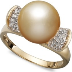 14k Gold Ring, Cultured Golden South Sea Pearl (10mm) and Diamond (1/8...