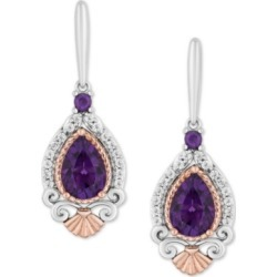 Enchanted Disney Amethyst (2 ct. t.w.) & Diamond (1/7 ct. t.w.) Ariel Drop Earrings in Sterling Silver & 14k Rose Gold found on Bargain Bro India from Macy's for $595.00