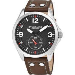 Stuhrling Original Men's Quartz, Silver Case, Grey Dial Watch on A Light Brown Genuine Leather Strap With White Contrast Stitching found on Bargain Bro India from Macy's for $99.99