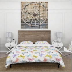 Designart 'Watercolor Butterfly Pattern' Cabin and Lodge Duvet Cover Set - Twin Bedding