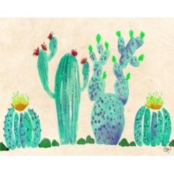 "Creative Gallery Fun Fresh Cactus Watercolor 36"" x 24"" Canvas Wall Art Print"