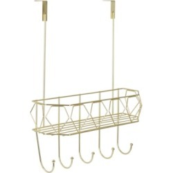 Hds Trading Prism 5 Hook Over The Door Hanging Rack with Built-In Basket