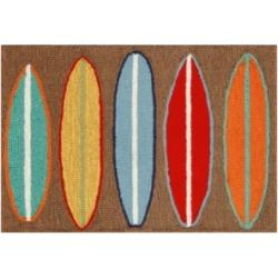 Liora Manne Front Porch Indoor/Outdoor Surfboards Brown 2' x 3' Area Rug