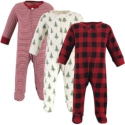 Touched by Nature Baby Girls and Boys Tree Plaid Sleep and Play, Pack of 3