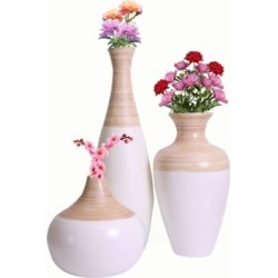 Uniquewise Spun Bamboo Vase, Set of 3