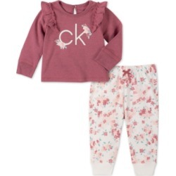Calvin Klein Jeans Baby Girls 2-Pc. Floral Logo-Print Sweatshirt & Jogger Pants Set found on Bargain Bro India from Macy's for $30.00