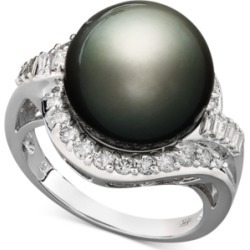 14k White Gold Ring, Cultured Tahitian Pearl (12mm) and Diamond (5/8 ct....