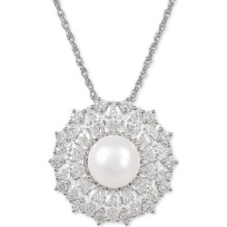 "Arabella Cultured Freshwater Pearl (9mm) & Swarovski Zirconia 18"" Pendant Necklace in Sterling Silver, Created for Macy's"