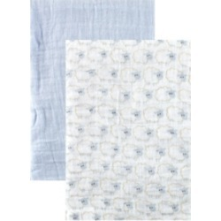 Hudson Baby Muslin Swaddle Blanket, 2-Pack, Blue, One Size