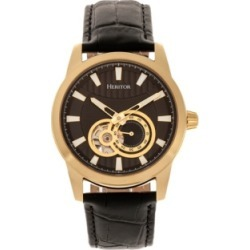 Heritor Automatic Davidson Gold Case, Genuine Black Leather Watch 42mm found on Bargain Bro India from Macy's for $204.99