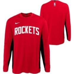 Nike Big Boys Houston Rockets Long Sleeve Shooter T-Shirt