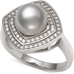 Cultured Freshwater Pearl (8mm) & Cubic Zirconia Statement Ring in Sterling Silver found on Bargain Bro India from Macy's Australia for $107.14
