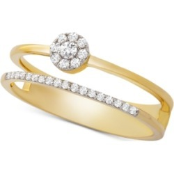 Wrapped Diamond Cluster Double Ring (1/6 ct. t.w.) in 14k Gold, Created for Macy's