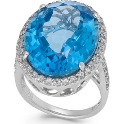 Blue and White Topaz Ring in Sterling Silver (20 ct. t.w.)(Also Available in Prasiolite and Smoky Quartz)