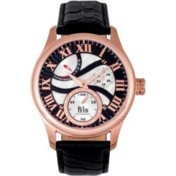 Reign Bhutan Automatic Rose Gold Case, Genuine Black Leather Watch 43mm