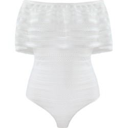 Bcbgmaxazria Ruffled Striped-Lace Bodysuit found on MODAPINS from Macys CA for USD $155.28