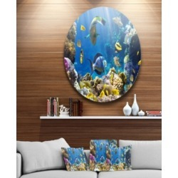"""Designart 'Fish In Coral Reef' Disc Seascape Photography Circle Metal Wall Art - 38"""" x 38"""""""