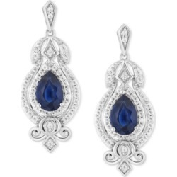 Enchanted Disney Sapphire (1 ct. t.w.) & Diamond (1/4 ct. t.w.) Cinderella Drop Earrings in 14k White Gold found on Bargain Bro India from Macy's for $1750.00