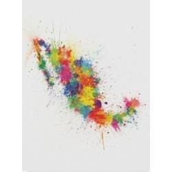 "Michael Tompsett Mexico Paint Splashes Map Canvas Art - 20"" x 25"""