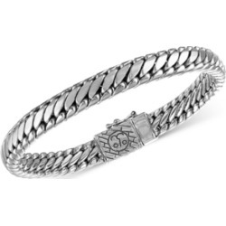 Esquire Men's Jewelry Heavy Serpentine Link Bracelet in Sterling Silver and 14k Gold-Plated Silver, Created for Macy's