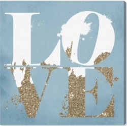 Oliver Gal Love Light Blue and Gold Canvas Art - 24