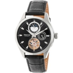 Heritor Automatic Sebastian Silver & Black Leather Watches 40mm found on Bargain Bro India from Macy's Australia for $333.60
