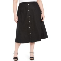 Calvin Klein Plus Size Button-Trim Linen Midi Skirt found on Bargain Bro India from Macy's for $29.73