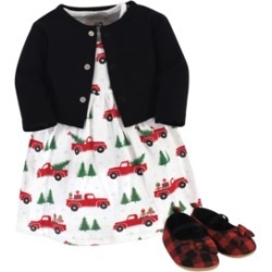 Hudson Baby Baby Girls Christmas Tree Dress, Cardigan and Shoe Set, Pack of 3