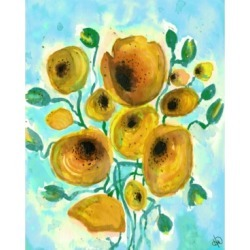 """Creative Gallery Summer Harmony Flowers in Yellow 36"""" x 24"""" Canvas Wall Art Print"""