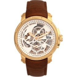Reign Matheson Automatic Gold Case, Genuine Brown Leather Watch 45mm found on Bargain Bro Philippines from Macy's Australia for $357.64