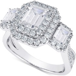 Diamond Three Stone Halo Engagement Ring (2 ct. t.w.) in 14k White & Yellow Gold found on Bargain Bro India from Macy's for $8095.05