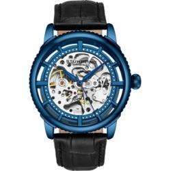 Stuhrling Original Men's Skeleton, Blue Case, Black Leather Strap Watch found on Bargain Bro India from Macy's for $69.99