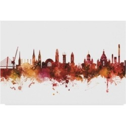 "Michael Tompsett Helsinki Finland Skyline Red Canvas Art - 15"" x 20"""