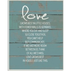 """Stupell Industries Love Grows Best in Little Houses Distressed Teal Shiplap Wall Plaque Art, 10"""" x 15"""""""