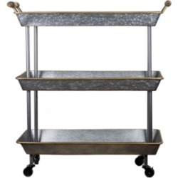 American Art Decor 3-Shelf Galvanized Rolling Cart