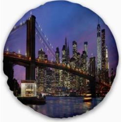 "Designart Brooklyn Bridge And Manhattan At Sunset Throw Pillow - 16"" Round"