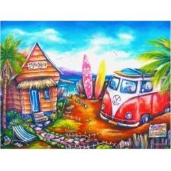 Deborah Broughton Surf Bocpenguins Canvas Art - 19.5