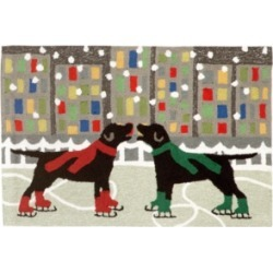 """Liora Manne Front Porch Indoor/Outdoor Holiday Ice Dogs Multi 2'6"""" x 4' Area Rug"""