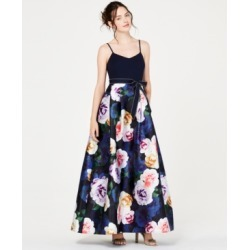 Teeze Me Juniors' Solid-Top Floral-Skirt Gown, Created for Macy's found on Bargain Bro India from Macys CA for $135.18