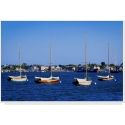 "American School Four Boats in Nantucket Canvas Art - 15"" x 20"""