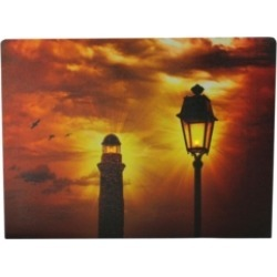 """Northlight Led Lighted Lighthouse and Lantern Lamp Post with Amber Sky Canvas Wall Art, 11.75"""" x 15.75"""""""