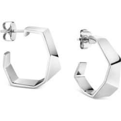 Calvin Klein Angled Hoop Earrings in Silver-Tone found on Bargain Bro India from Macy's for $89.00
