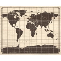 Gridded World Map On Wood Pattern 24